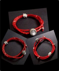 Thick red plaited leather wristband with silver grey polymer bead in the middle. Silver thread to create a slip knot fastening which also works to adjust size.