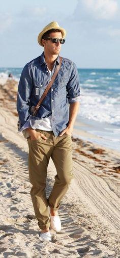 Life at the beach men's fashion summer beach look half shirts, cooler look, Sharp Dressed Man, Well Dressed Men, Style Casual, Men Casual, Casual Wear, Half Shirts, Look Man, Cooler Look, Men Beach