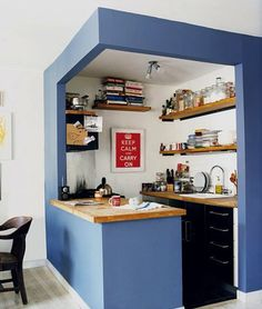 Cute small blue kitchen
