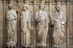 Reims Cathedral, Annunciation and Visitation, jamb statues on the right side of the central doorway of the west facade, ca. Monuments, Sculpture Art, Sculptures, Reims Cathedral, Bible Photos, Romanesque Art, Art Through The Ages, Plastic Art, Chapelle