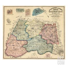 1865, Montgomery County Wall Map, Maryland, United States Giclee Print at Art.com