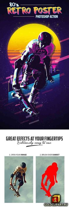 80s Retro Poster Photoshop Action 21913452 Photoshop ABR, Photoshop PAT, Photoshop ATN | 21 Mb Create cool 80s inspired retro poster artwork from any photo. The action generates various retro elements to add to the composition. Final effect includes multiple retro color effects and various Layers and Levels of unique