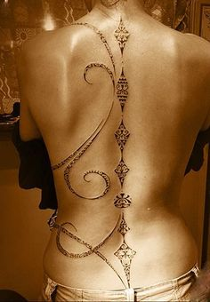 Spine is a grea placement for delicate polynesian tattoos. Here by Manu Farrarons.