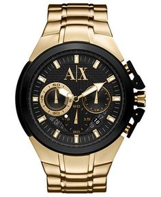 A|X Armani Exchange Watch, Men's Gold Ion Plated Stainless Steel Bracelet 50mm AX1193 - All Watches - Jewelry & Watches - Macy's