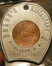 encased penny 1953 D Bahars restaurant Pag Bud Highlands NJ beauty