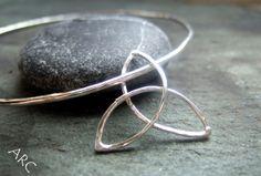 IONA RANGE - Order Code Trinity knot bangle - mm 70 mm round bangle with a Trinity knot 22 mm diameter attached Trade Price RRP Wire Earrings, Earrings Handmade, Stud Earrings, High Jewelry, Beaded Jewelry, Jewellery, Cuff Bracelets, Bangles, Trinity Knot