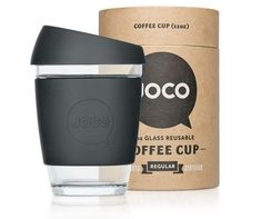 JOCO Coffee Cup - reusable glass coffee cup and package can be reused and can be posted as a mail tube