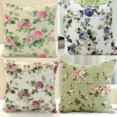 4-PCS-Floral-Rose-Vintage-Chic-Canvas-Throw-Pillow-Case-Cushion-Covers-4RS1