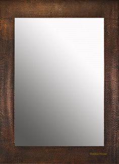 "copper mirror #O019. Rectangular frame ""Monterrey"" large: 42""x 26"" --400 (30 days out) ."