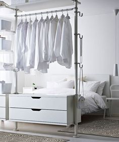 Open Wardrobe In Bedroom Creative Open Bedroom Wardrobe Storage With Hangers For Clothes Open Closet Ideas For Small Spaces Ikea Bedroom, Closet Bedroom, White Bedroom, Bedroom Furniture, Closet Space, Bedroom Sets, Wardrobe Storage, Closet Storage, Bedroom Storage
