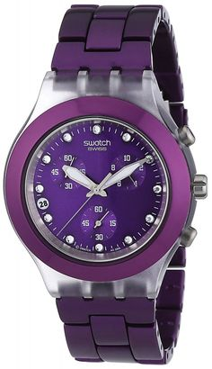 Swatch Men's SVCK4048AG Quartz Date Purple Dial Crystal Watch: Swatch: Watches