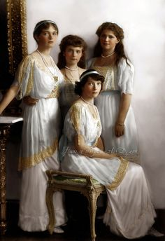 1914 - Grand Duchesses Olga (1895-1918), Anastasia (1901-1918), Maria (1899-1918) and Tatiana (1897-1918) Romanova of Russia, daughters of the last Tsar, beautiful girls brutally murdered on 17th July 1918. This picture was taken four years prior their deaths