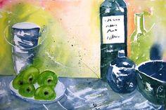 Obst und Flaschen  47 x 33 cm