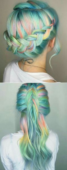 pastel hair with braids, so mermaidy! Half up, half down [ Hair Color // Rainbow / Green & Blue & Pink & Orange & Yellow ] Unicorn Hair Color, Mermaid Hair Colors, Coloured Hair, Hair Day, Pretty Hairstyles, Rainbow Hairstyles, Hairstyle Ideas, Spiky Hairstyles, Mermaid Hairstyles