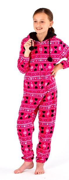 Girls Ruby Onesie Super cute girls onesie.  Really soft onesie with a kangaroo pocket, fur lined hood and pom pom bobbles.  In girls sizes 7-13 years. Also in Ladies sizes 10-20. £16