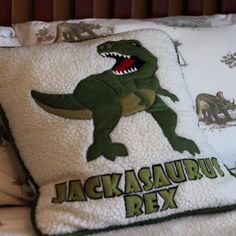 Appliqued dinosaur accent pillow for Jack's room.  #DIY #KidsBedroom #Dinosaurs
