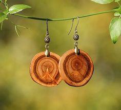 Apricot Wood Earrings with Brass - Wood Earrings - Eco-Friendly - DK412