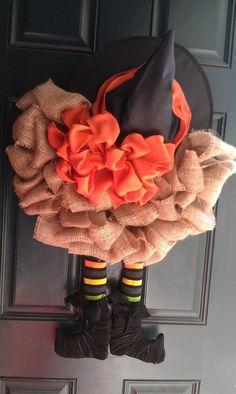 Burlap Witch Wreath. $65.00, via Etsy.