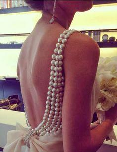 Un dos nu embelli de perles Flat Back Pearl Embellished Gown DIY Mod Wedding, Wedding Gowns, Dream Wedding, Wedding Ideas, Glamorous Wedding, Pearl Wedding Dresses, Wedding Dress With Pearls, Bridal Gowns, Wedding Planning