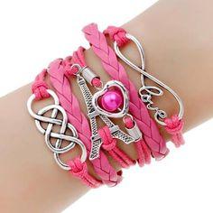 Infinite Love -rannekoru, jossa on kietoutuneet Infinity-symbolit, Sydän, Love ja Eiffel-torni -riipukset. Kaunis rannekoru itsellesi tai lahjaksi!