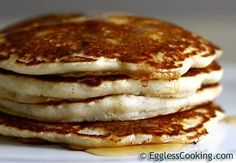 I've actually made these pancakes a couple times when I've run out of eggs and they're very good.  Great alternative if you have egg allergies, want a lower cholesterol version of the classic, or whatever reason you have to cook without eggs!!