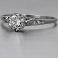 Engraved band engagement ring