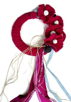 Raspberry Knitted Wreath Up Cycled Sweater Wreath by nanniepannie, $35.00