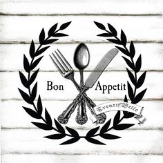 Bon Appetit French Vintage Cutlery Black and White by CreatifBelle