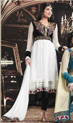 White Full Sleeve Georgette Anarkali Salwar Kameez 15822