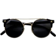 Iyu Design Sunglasses With Black/gold Frames Uv3 Lenses - Margot ($33) ❤ liked on Polyvore featuring accessories, eyewear, sunglasses, glasses, black, fillers, gold frames glasses, lens glasses and lens sunglasses