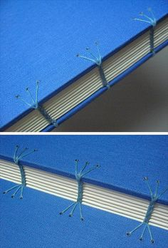Coptic stitch creativity. handmade journal with blue cover