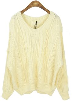 Beige Round Neck Long Sleeve Batwing Loose Sweater - Sheinside.com