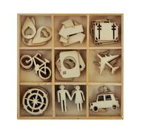 Explore a travel-themed mixed media project with the Travel Die Cut Wood Pieces Pack by Kaisercraft. Included are 45 wood pieces (five each of nine different Craft Items, Craft Stores, Wedding Ideias, Decoupage, Scrapbooking, Wooden Shapes, General Crafts, Travel Themes, Wood Pieces