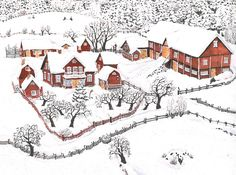 "An illustration by Marit Tornqvist from the book ""A Calf For Christmas"" by Astrid Lindgren. Winter Illustration, Christmas Illustration, Children's Book Illustration, Christmas Farm, Swedish Christmas, Christmas Mood, Hunters In The Snow, Seasonal Image, Pippi Longstocking"
