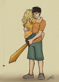 Percy protecting Annabeth from a spider...dawww <3