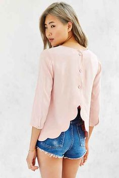 Cooperative Scallop-Back Blouse - Urban Outfitters