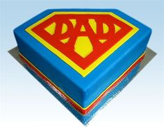 """Super Dad"" Father's Day Cake by Amanda Hamilton - Do you know a Dad who's a hero? Show him how super he is with our ""Super Dad"" Father's Day Cake! ""Super Dad"" comes with a template for the cut-out on top, and is an easy fondant cake in the shape of a super hero emblem. Plus, Amanda Hamilton shows you step-by-step how to make it - you'll have a super cake the first time you try it!"