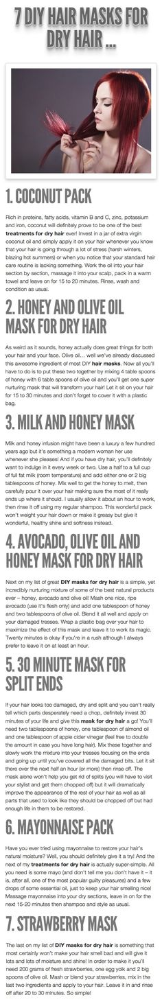 PRODUCTS | HAIR MASQUES :: 7 DIY Hair Masks For DRY Hair |/// Tried the honey and olive oil one. Works great! My hair is healtier and shines!
