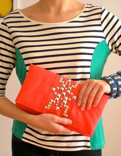 Studded Coral Clutch