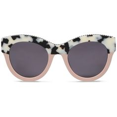 Stella McCartney White Havana Cat Eye Sunglasses ($340) ❤ liked on Polyvore featuring accessories, eyewear, sunglasses, beige, oversized square sunglasses, white sunglasses, oversized sunglasses, white square sunglasses and cat-eye glasses