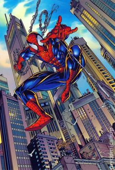 (Spiderman) By: Mark Bagley. Hq Marvel, Marvel Comics Art, Marvel Heroes, Marvel Characters, Ultimate Spider Man, Spiderman Poster, Spiderman Art, Marvel Comic Universe, Comics Universe