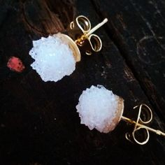 Geode Quartz Natural Crystal Druzy Earrings  Boho Chic Wedding Raw Stone Jewelry
