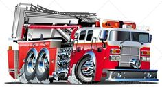 Vector Cartoon Fire Truck #GraphicRiver Vector cartoon firetruck. Available…