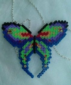 Dark hama bead butterfly necklace by CrystalandLacey