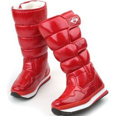New Winter Snow Warm Womens Mid-Calf Velcro Comfort Padding Boots Red (7.5) $32.99