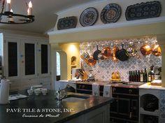Backsplash   Cuisine de Monet Blue and White Decorative Wall Tile mediterranean-tile