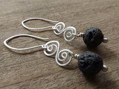 Handmade Jewellery. Sterling Silver Black Lava Earrings Spiral Earrings by maryannefountain on Etsy $35.00