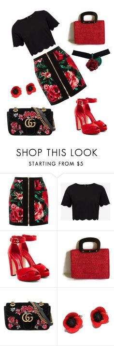 """red rose black rose"" by puljarevic ❤ liked on Polyvore featuring Balmain, Ted Baker, Alexander McQueen, Gucci, gucci, rosegold and RedLove"