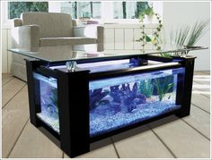 Beautiful coffee table comes with large built in aquarium. Beautiful coffee table comes with large built in aquarium. Beautiful coffee table comes with large built in aquarium. Black Coffee Tables, Coffee Table Rectangle, Unique Coffee Table, Coffee Table Design, Coffe Table, Creative Coffee, Dining Table, White Coffee, Diy Table