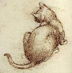 "Leonardo da Vinci - Detail from ""Cats in motion"", c.1513-16 - Pen and ink with…"